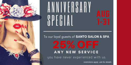 ANNIVERSARY SPECIAL 2018 -25% off new service all through August